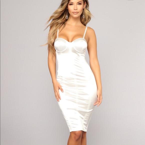 c7f2af1b214b Fashion Nova Dresses | White Satin Bodycon Dress | Poshmark